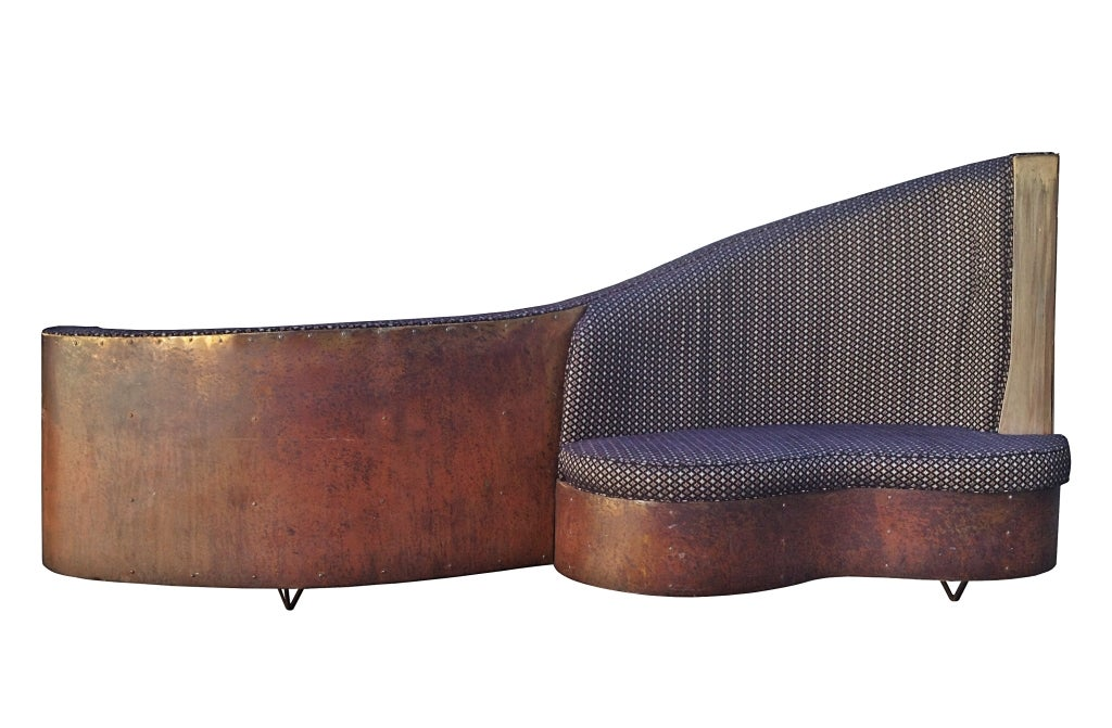 Double Sided Sofa : Art Deco Double-Sided Copper and Wood Upholstered Sofa at 1stdibs