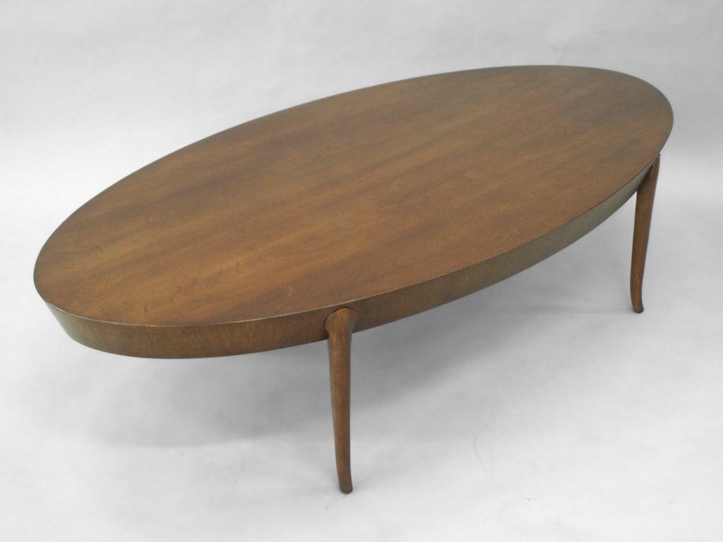 Oval Walnut Cocktail Coffee Table By Robsjohn Gibbings 2