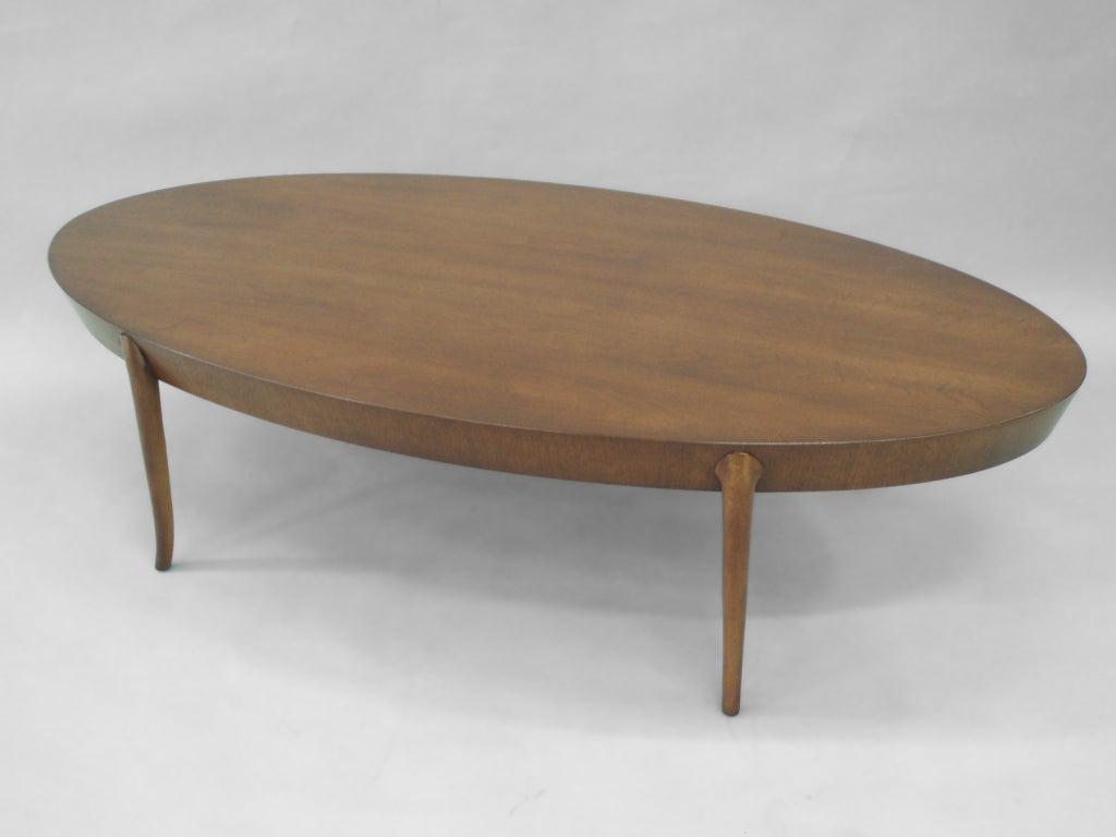 Oval Walnut Cocktail Coffee Table By Robsjohn Gibbings 3