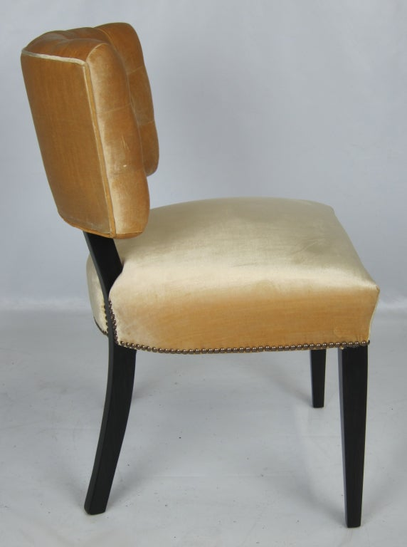 Set of six tufted velvet dining chairs at 1stdibs - Tufted dining room chairs ...