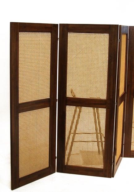 Massive Danish Modern Caned Solid Staved Teak Frame Folding Screen Room Divider 4
