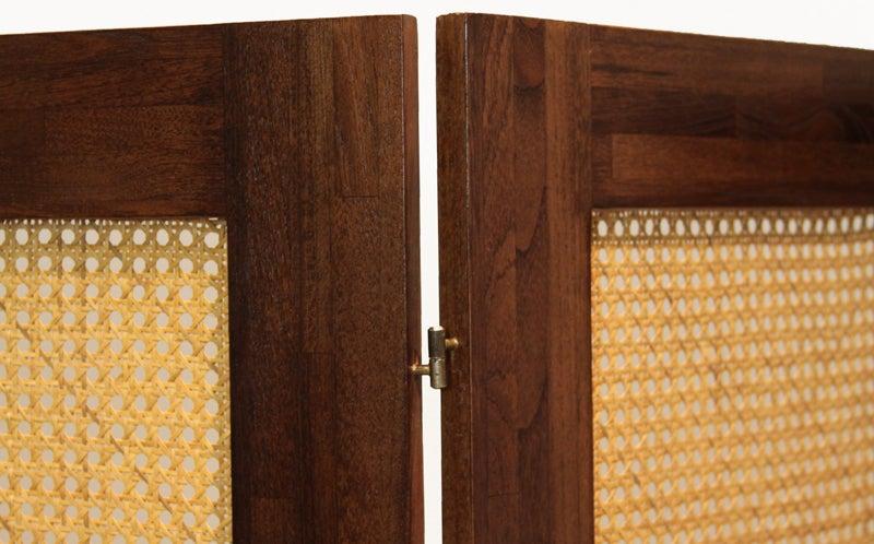 Massive Danish Modern Caned Solid Staved Teak Frame Folding Screen Room Divider 5