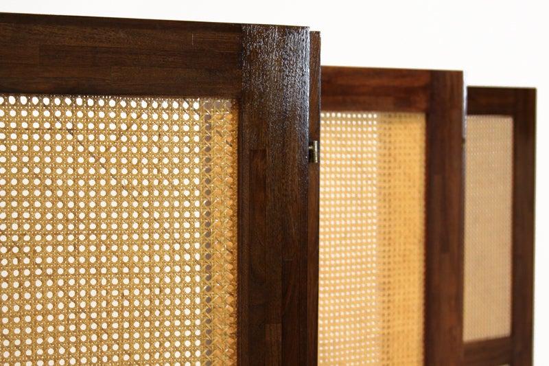 Massive Danish Modern Caned Solid Staved Teak Frame Folding Screen Room Divider 6