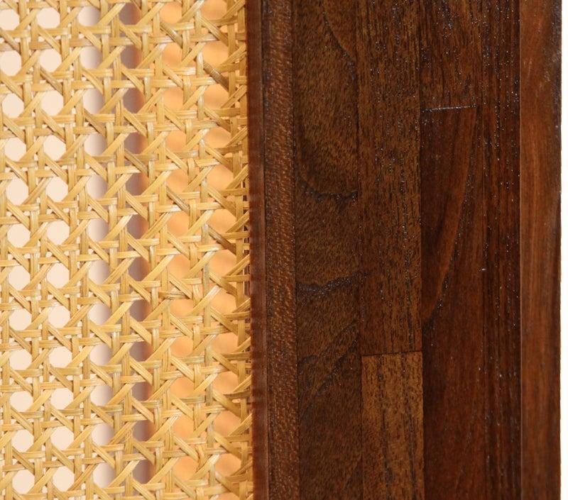 Massive Danish Modern Caned Solid Staved Teak Frame Folding Screen Room Divider 7