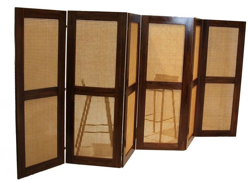 Massive Danish Modern Caned Solid Staved Teak Frame Folding Screen Room Divider 2