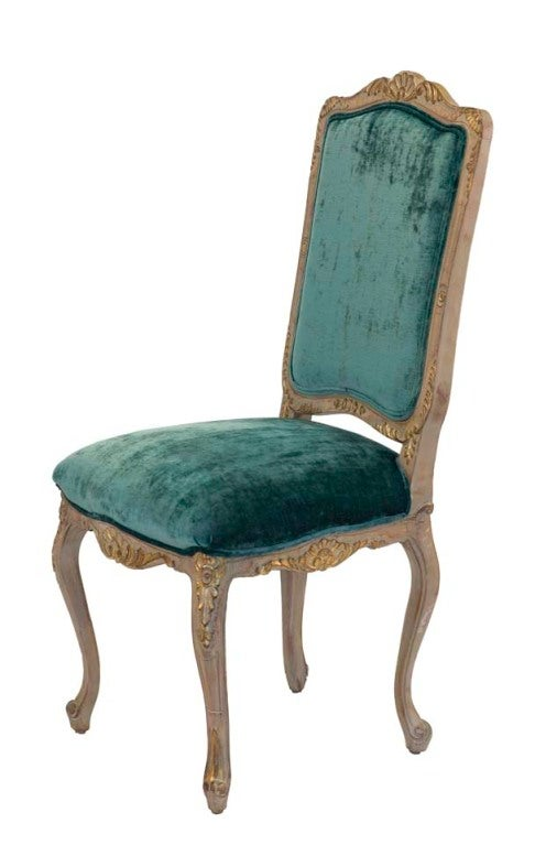 Set of 6 Louis XV Style Side Chairs carved. painted and gilded frames with carved shells and acanthus leaves, teal colored silk velvet upholstery with self welt trim, contrast outside backs of embroidered floral vine on gold silk.