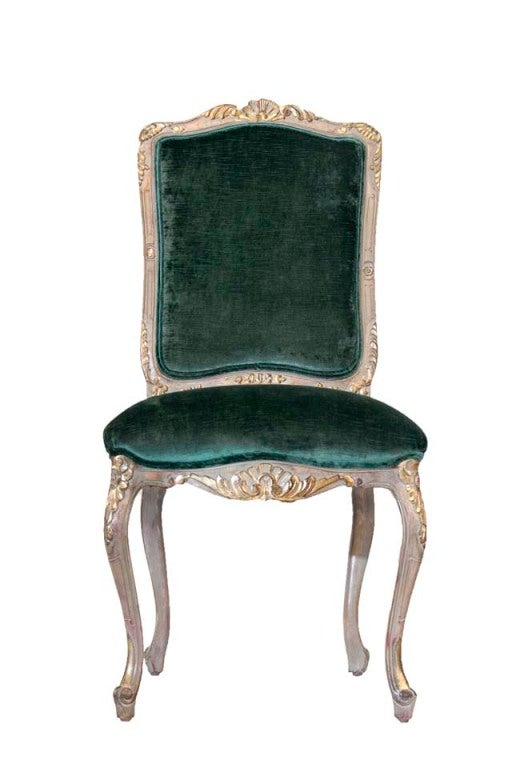 American Louis XV Style Carved and Gilded Side Chairs (6) For Sale