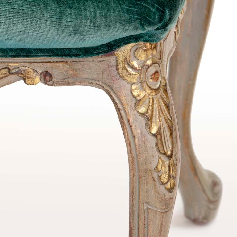 20th Century Louis XV Style Carved and Gilded Side Chairs (6) For Sale
