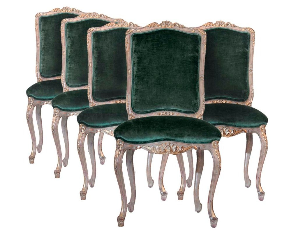 Louis XV Style Carved and Gilded Side Chairs (6) For Sale 4