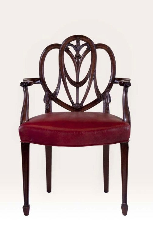Pair Heartback Hepplewhite Chairs At 1stdibs