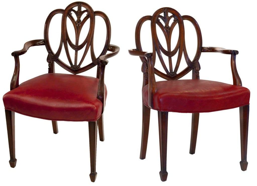 Gentil 19th Century Pair Of Heartback Hepplewhite Chairs For Sale