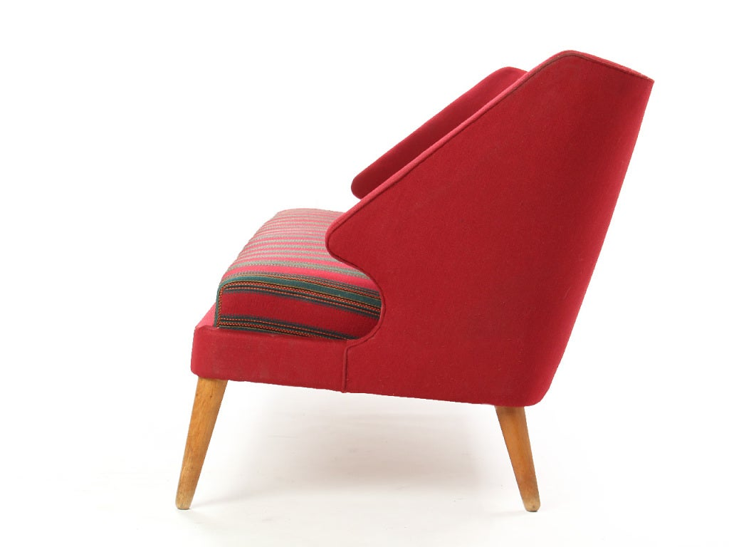Scandinavian Modern Red Winged Sofa For Sale