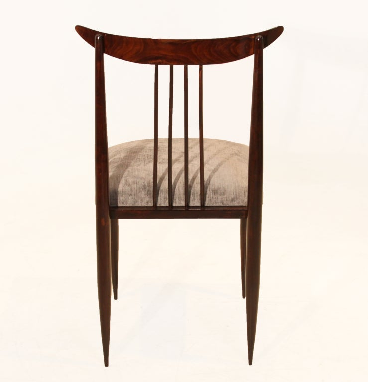 Set of Six Rosewood Dining Chairs by Giuseppi Scapinelli