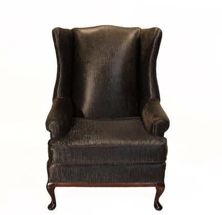 Traditional Wingback Chair with Faux Sleek Black Sharkskin Fabric & Walnut Base 2
