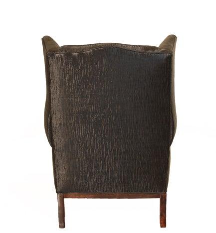 Traditional Wingback Chair with Faux Sleek Black Sharkskin Fabric & Walnut Base 4