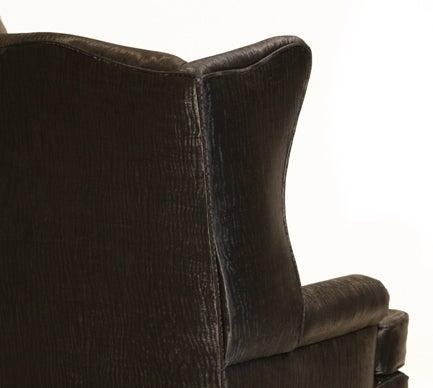 Traditional Wingback Chair with Faux Sleek Black Sharkskin Fabric & Walnut Base 6