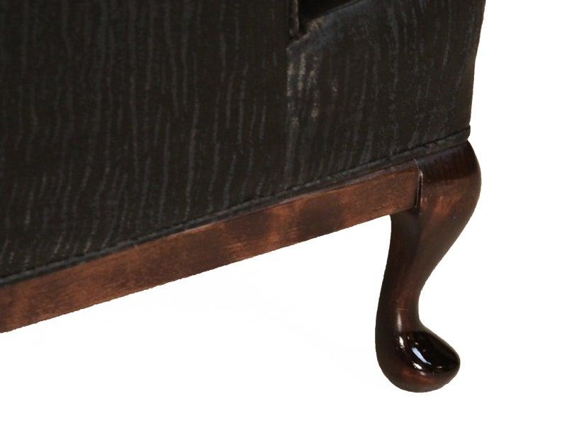 Traditional Wingback Chair with Faux Sleek Black Sharkskin Fabric & Walnut Base 7