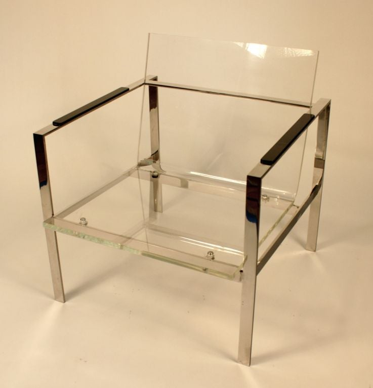 Chrome and Lucite Club Chair In Fair Condition In Los Angeles, CA