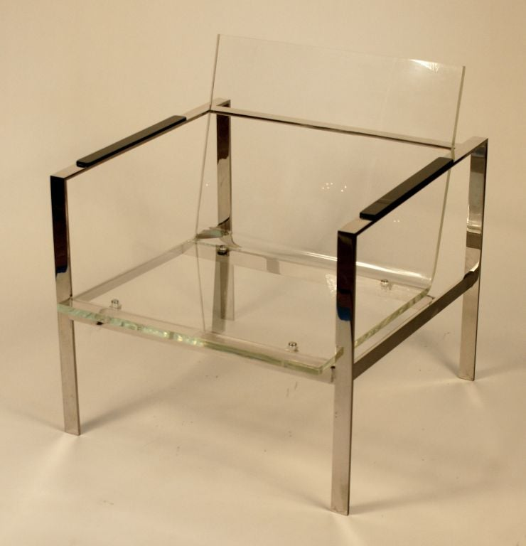 20th Century Chrome and Lucite Club Chair