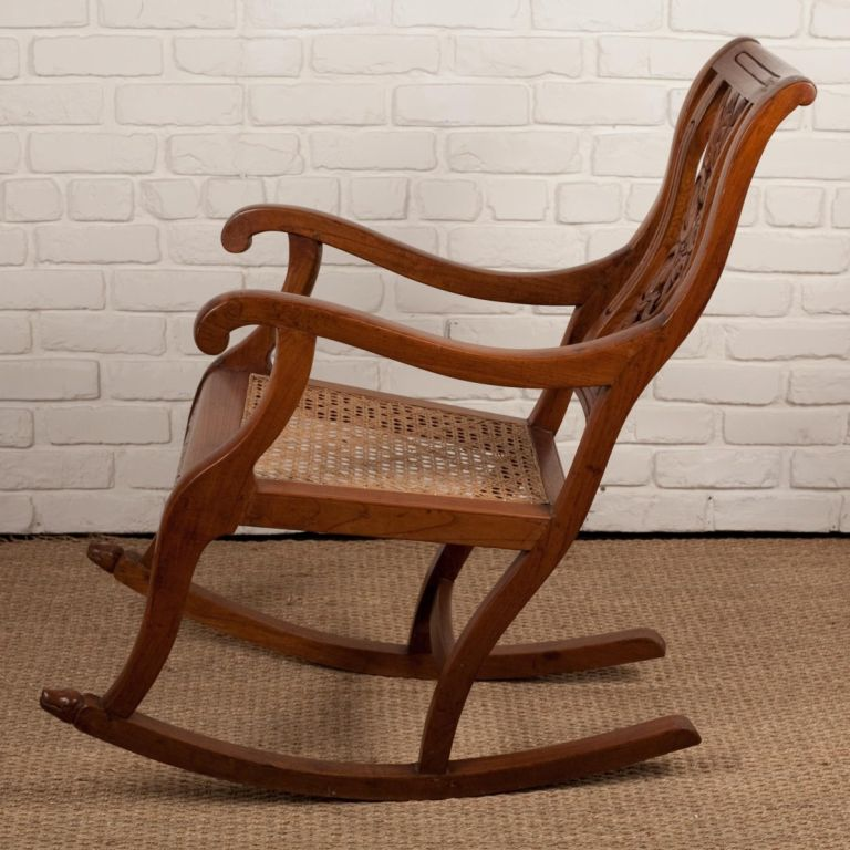 Indo Portuguese Teak Rocking Chair With Caned Seat At 1stdibs