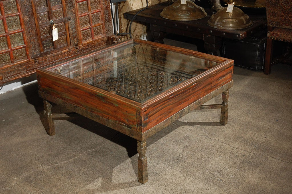 Carved Indian Window made into a Coffee Table at 1stdibs