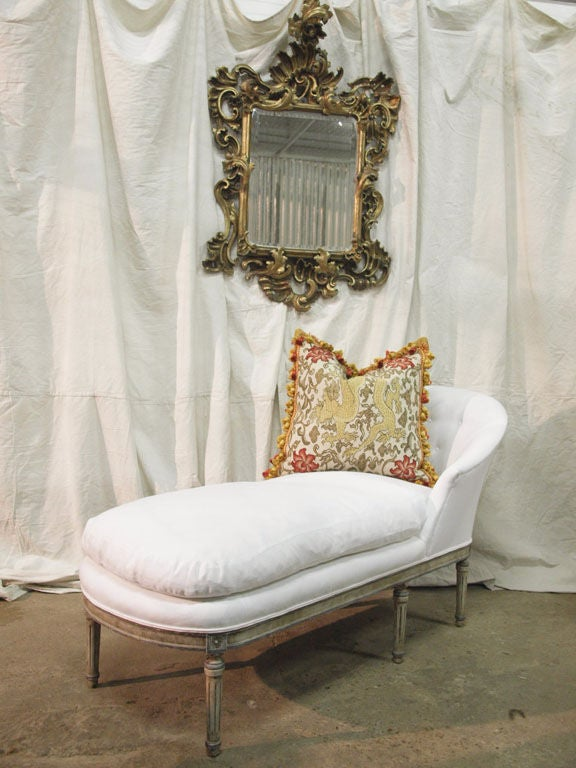 louis xvi painted french chaise in belgian linen down. Black Bedroom Furniture Sets. Home Design Ideas