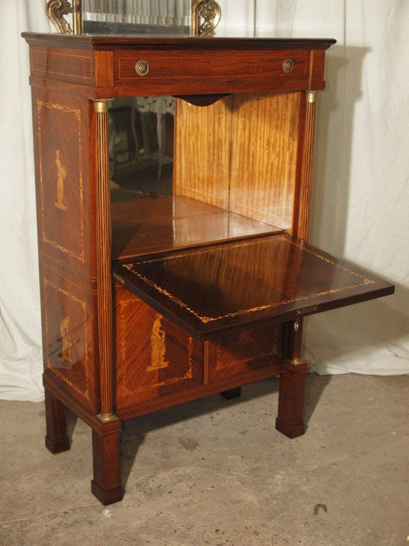 Elegant empire style rosewood dry bar at 1stdibs for Home dry bar furniture