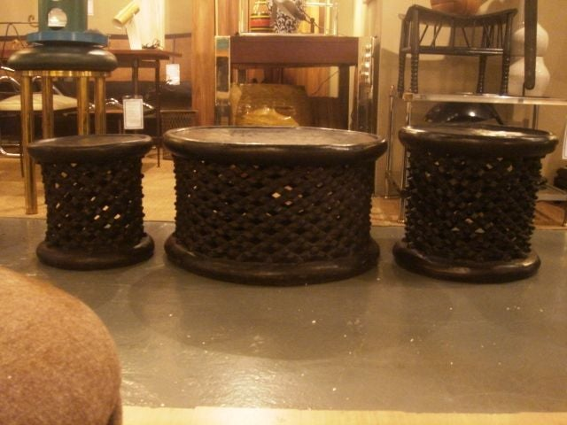 Ebonized African Cameroon Drum Stools in a selection of sizes 5