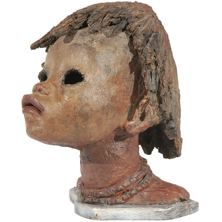 Clay Bust of African Girl