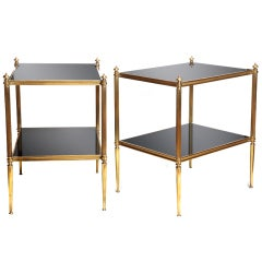 Pair French 2 Tier Brass Side End Tables