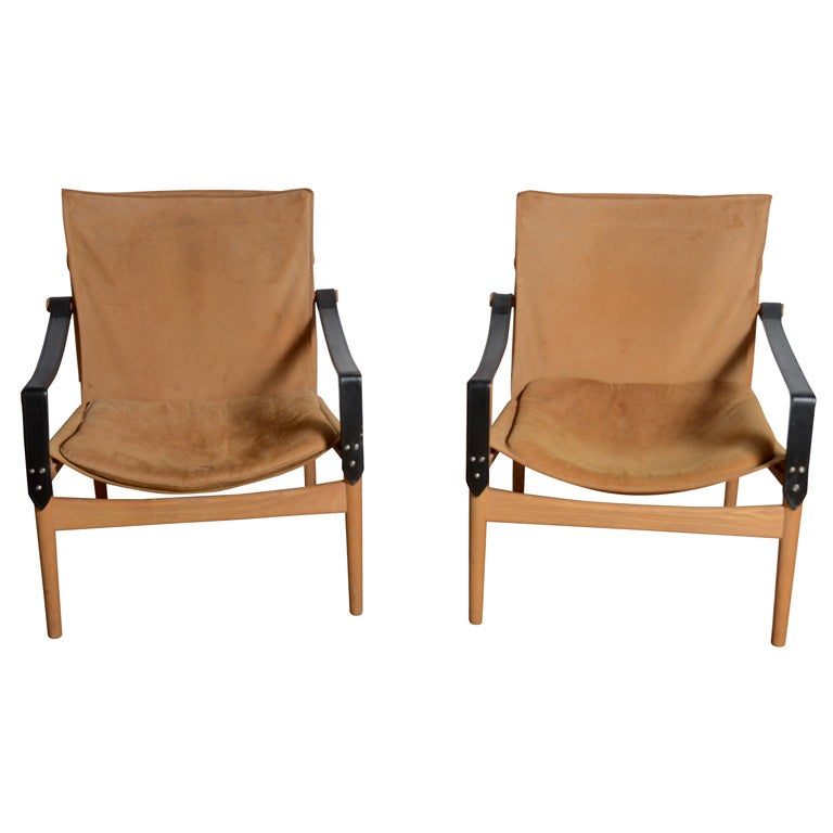 Pair of Hans Olsen 1960's Safari chairs