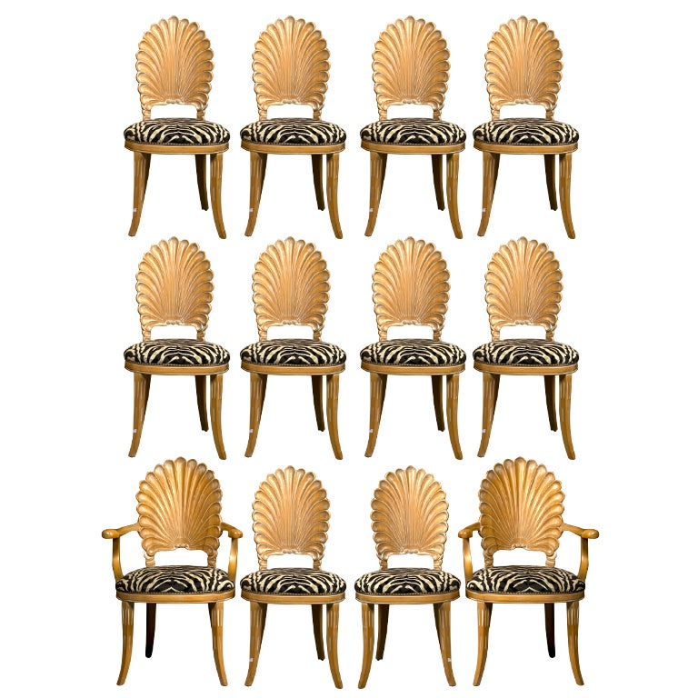 Set of  Hollywood Regency Shell-back Dining Chairs at stdibs