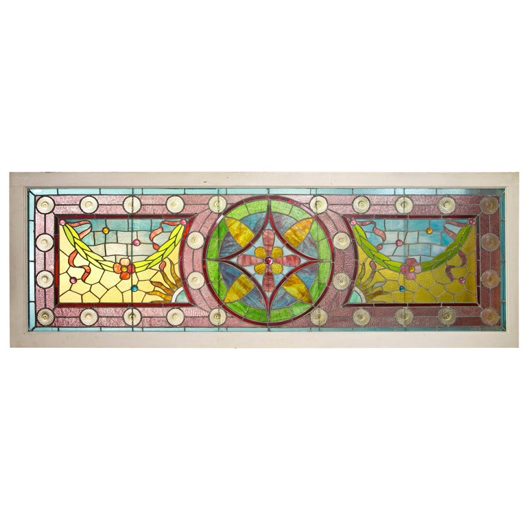 Large Antique Leaded Stained Glass Window For Sale At 1stdibs