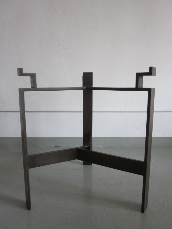 Pair French Mid-Century Style Bronzed Iron End Tables, Manner of Jacques Quinet In Excellent Condition For Sale In New York, NY
