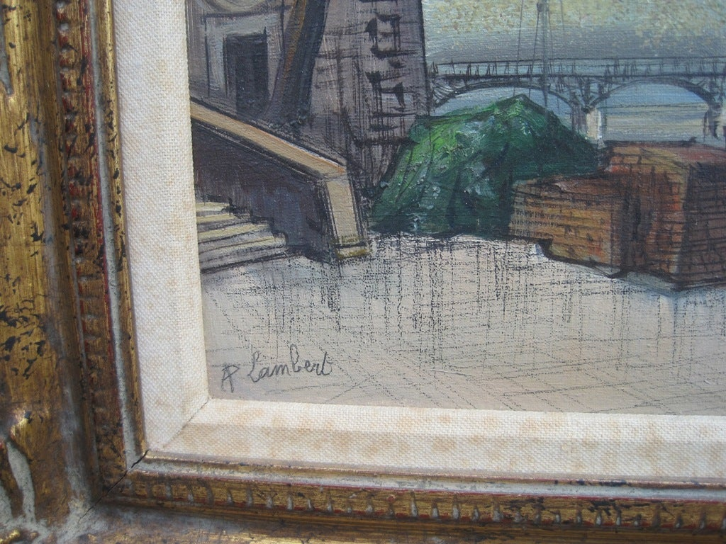 French Parisian Scene by A Lambert For Sale