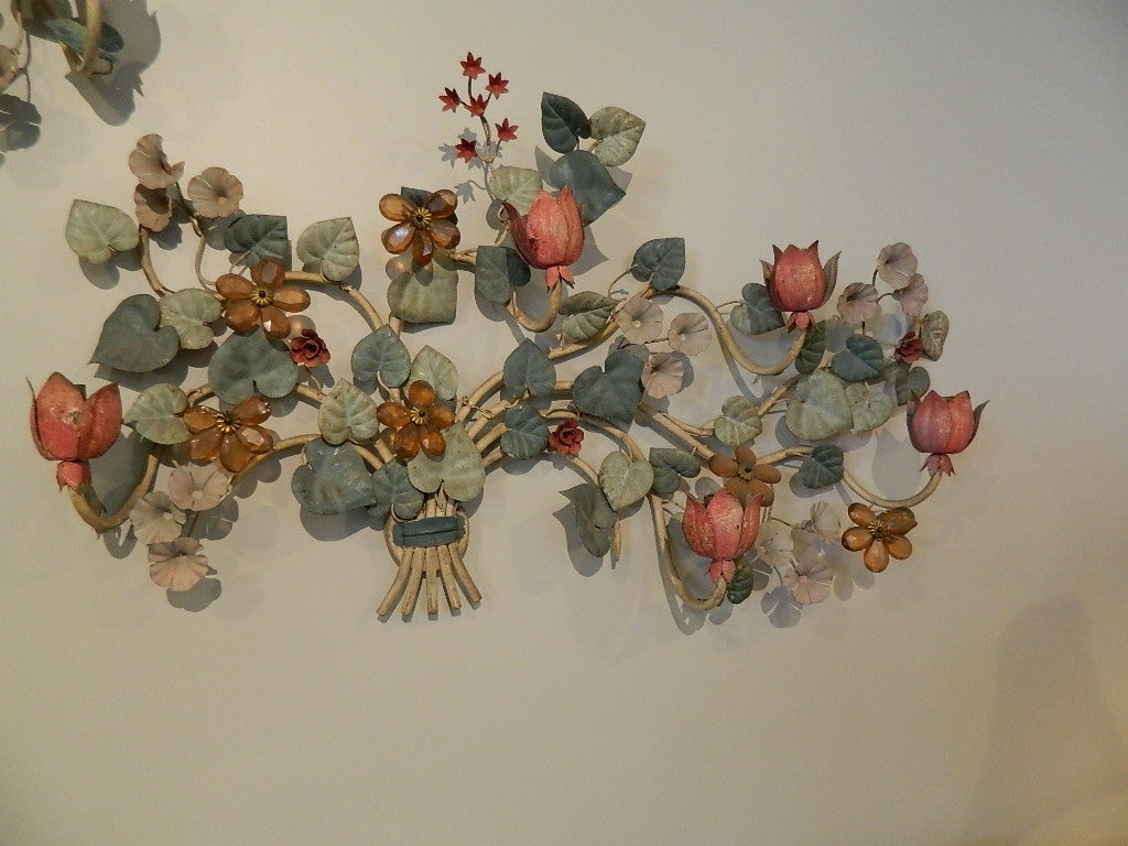 Pair Tole Wall 5 Light Sconces with Glass Flowers at 1stdibs