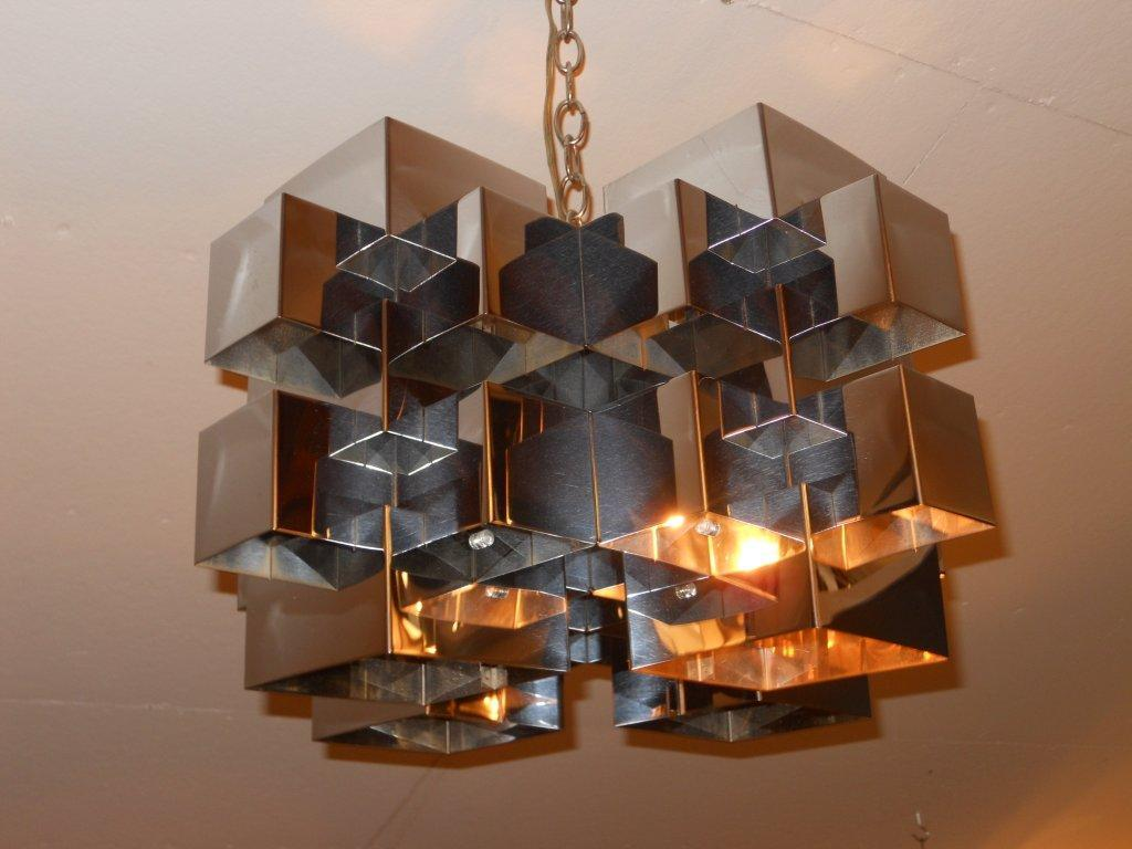 Curtis Jere Midcentury Modern Chrome Light Fixture At 1stdibs