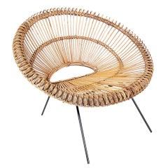 Sculptural Italian Modern Rattan Scoop Chair