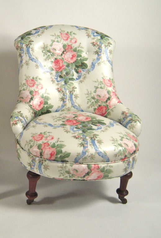 A 19th century slipper chair newly upholstered in a high quality polished cotton floral chintz & 19th Century Slipper Chair in Floral Chintz at 1stdibs