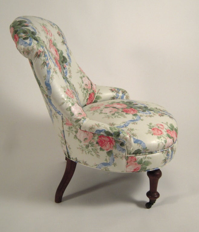 19th century slipper chair in floral chintz 3
