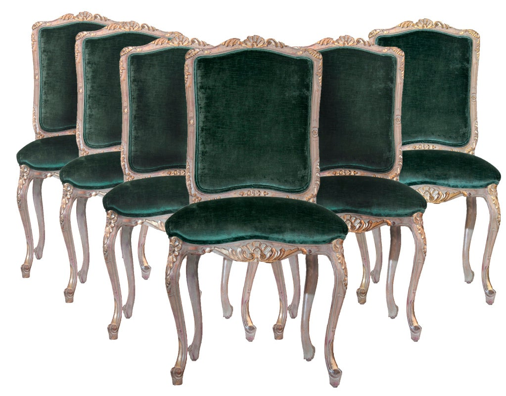 Louis XV Style Carved and Gilded Side Chairs (6) For Sale 5