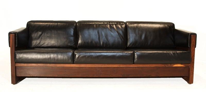 Vintage Black Leather Wrapped Arm and Macaranduba Case Sofa by