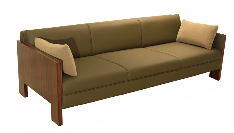 Milo Baughman Rosewood And Olive Green Sofa At 1stdibs