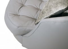 Large round gray leather swivel love chair by Milo Baughman image 8