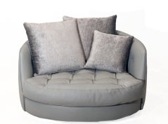 Large round gray leather swivel love chair by Milo Baughman image 3