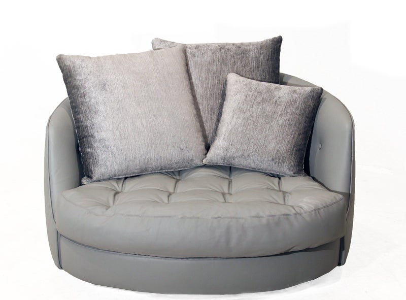 Large round gray leather swivel love chair by Milo Baughman 3