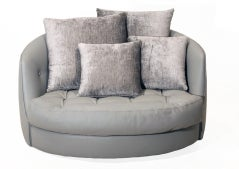 Large round gray leather swivel love chair by Milo Baughman image 4