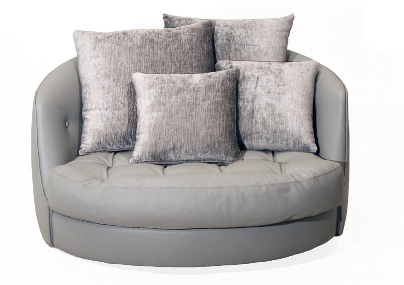 Large round gray leather swivel love chair by Milo Baughman 4