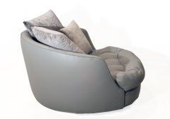 Large round gray leather swivel love chair by Milo Baughman image 5