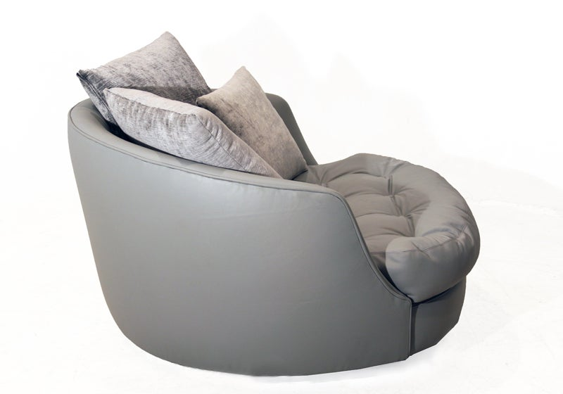 Large round gray leather swivel love chair by Milo Baughman 5